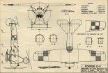 Fokker E-V, plany modelarskie. (Źródło: Modelarz nr 2/1974).