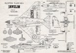 "Gloster ""Javelin"", plany modelarskie. (Źródło: Modelarz nr 8/1960)."