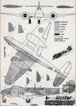 """Gloster """"Meteor"""" F.1, plany modelarskie. (Źródło: Modelarz nr 7/1961)."""