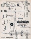 """Handley Page """"Halifax"""" Mk.I, plany modelarskie. (Źródło: Modelarz nr 10/1957)."""