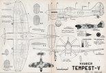 "Hawker ""Tempest"" Mk. V, plany modelarskie. (Źródło: Modelarz nr 4/1962)."