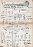 Iljuszyn Ił-14M, plany modelarskie. (Źródło: Modelarz nr 5/1963).