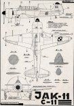 Jak-11 (Let C-11), plany modelarskie. (Źródło: Modelarz nr 6/1959).