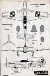 Jak-9P, plany modelarskie. (Źródło: Modelarz nr 2/1959).