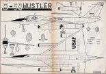 "Convair B-58 ""Hustler"", plany modelarskie. (Źródło: Modelarz nr 5/1957)."