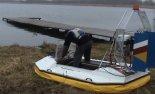 """Poduszkowiec """"Tornado II"""". Przygotowania do prób nad wodą. (Źródło: Copyright Jan Zymek)."""