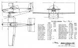 Rysunek w trzech oraz dane techniczne samolotu TC A 68. (Źródło: ze zbiorów Rafała Chylińskiego).
