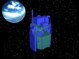 Wizualizacja satelity CESAR w konfiguracji transportowej. (Źródło: ze zbiorów Bogusława Kuśnierza).