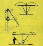 """""""Pterodaktyl-1"""". Rysunek w trzech rzutach. (Źródło: Skrzydlata Polska nr 9/1975)."""