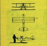 """Samolot """"Malec"""". Rysunek w trzech rzutach. (Źródło: Skrzydlata Polska nr 9/1975)."""