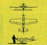 """Samolot """"Ortolan"""". Rysunek w trzech rzutach. (Źródło: Skrzydlata Polska nr 9/1975)."""