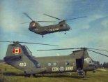 """Dwa śmigłowce CH-113A """" Voyageur"""" w barwach Canadian Army. (Źródło: Canadian Forces)."""