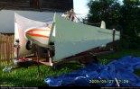 """Motoszybowiec """"Moto Lis"""" (SP-8058) na wozie transportowym. (Źródło: Reginald Pobłocki via www.szybowce.fotoedytor.com)."""