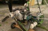 Amatorski wózek motolotniowy Jareka, użytkowany w latach 2000- nych na lotnisku Osztyn- Dajtki. Widok z tyłu. (Źródło: archiwum).
