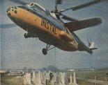 Śmigłowiec Mi-6A należący do przedsiębiorstwa Instal podczas prac budowlano- montażowych. (Źródło: Skrzydlata Polska nr 1/1980).