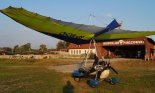 "Motolotnia  Mainair Sport ""Gemini Flash 2 Alpha"" (SP-MCHO) na lotnisku Aeroklubu Pińczowskiego. (Źródło: archiwum)."
