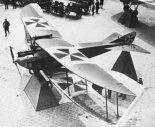 Samolot DFW B-I w widoku z góry. Widać charakterystyczny kształt skrzydeł samolotu. (Źródło: archiwum).