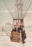 "Kosz balonu Phoenix z Hansem Grosesem i Arthurem Bersonem podczas lotu badawczego w 1894 r. (Źródło: Rys Hans Gross via Richard Assmann und Arthur Berson ""Wissenschaftliche Luftfahrten"", Tom 1)."
