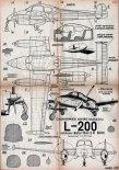 """Let L-200 """"Morava"""", plany modelarskie. (Źródło: Modelarz nr 6/1958)."""