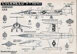 "Lockheed F-104A ""Starfighter"", plany modelarskie. (Źródło: Modelarz nr 3/1958)."