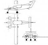 """DK-3 """"Kasia"""", rysunek w trzech rzutach. (Źródło: Technika Lotnicza i Astronautyczna  nr 7/1985)."""