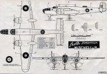 "North American ""Mitchell""  Mk.III, plany modelarskie. (Źródło: Modelarz nr 6/1958)."