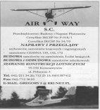 Reklama firmy Air-Way Kazimierz Olszewski. (Źródło: Przegląd Lotniczy Aviation Revue nr 10/2000).