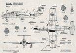 """Aero L-29 """"Delfin"""", plany modelarskie. (Źródło: Modelarz nr 6/1964)."""
