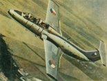 """Samolot szkolno- treningowy Aero L-29 """"Delfin"""" w locie. (Źródło: Skrzydlata Polska nr 5/1963)."""
