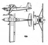 """Aero L-60 """"Brigadyr"""", rysunek w trzech rzutach. (Źródło: Skrzydlata Polska nr 5/1965)."""