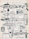 Petlakow Pe-2FT, plany modelarskie. (Źródło: Modelarz nr 5/1970).