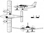 """Piper PA-34 """"Seneca II"""" , rysunek w trzech rzutach. (Źródło: Skrzydlata Polska nr 38/1978)."""