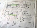 Projekt samolotu wersji Aerovan w układzie dwupłata tandem w zbliżeniu. (Źródło: https://aamroczek.wordpress.com/).