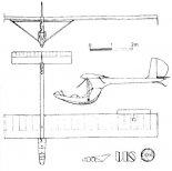 Rysunek konstrukcyjny szybowca ULS-PW w trzech rzutach. (Źródło: Technika Lotnicza i Astronautyczna nr 8/1982).