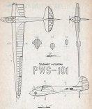 PWS-101, plany modelarskie. (Źródło: Modelarz nr 2/1957).