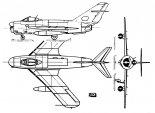Lim-5P, rysunek w trzech rzutach. (Źródło: Skrzydlata Polska nr 22/1964).
