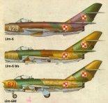 Barwy samolotów Lim-6, Lim-6 bis i Lim-6M. (Źródło: Technika Lotnicza i Astronautyczna  nr 8/1985).