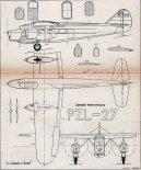 PZL-27, plany modelarskie. (Źródło: Modelarz nr 3/1958).