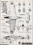 """PZL-38 """"Wilk"""", plany modelarskie. (Źródło: Modelarz nr 9/1961)."""
