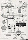 "PZL-102 ""Kos"", plany modelarskie. (Źródło: Modelarz nr 11/1958)."