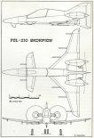 """PZL-230 """"Skorpion"""" w pierwotniej postaci dwusilnikowego samolotu turbośmigłowego w układzie kaczki, rysunek w trzech rzutach. (Źródło: Lotnictwo Aviation International nr 1/1991)."""