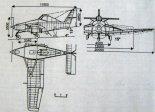 Projekt samolotu rolniczego PZL M14. Rysunek w trzech rzutach. (Źródło: ze zbiorów Jarosława Rumszewicza).