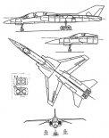 Projekt samolotu myśliwsko-szturmowego i treningowego PZL M-16. Rysunek w trzech rzutach. (Źródło: via Józef Oleksiak).