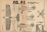 PZL P-1, plany modelarskie. (Źródło: Modelarz nr 8/1972).