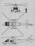 Agusta A109A, rysunek w trzech rzutach. (Źródło: Skrzydlata Polska nr 49/1978).