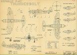 """Republic P-47N """"Thunderbolt"""", plany modelarskie. (Źródło: Modelarz nr 5/1974)."""