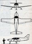 "North American Rockwell ""Aero Commander 111"". Rysunek w trzech rzutach. (Źródło: Skrzydlata Polska nr 3/1975)."