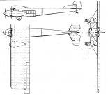 """""""Project d'avion Ru- type chassis pliant"""", rysunek w trzech rzutach. (Źródło: na podstawie oryginalnego projektu inż. Jerzego Rudlickiego via Skrzydlata Polska nr 39/1964)."""