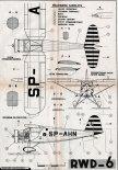 RWD-6, plany modelarskie. (Źródło: Modelarz nr 7-8/1962).