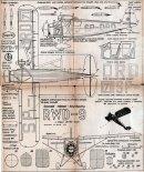 RWD-9, plany modelarskie. (Źródło: Modelarz nr 4/1957).